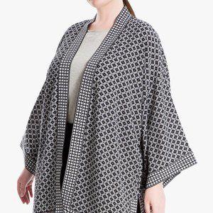 Max studio BNWT black white print kimono 1X Plus
